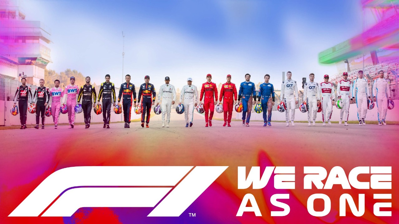 """F1's """"We Race As One"""" anti-racism campaign."""
