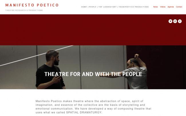 """Imagen: Pagina web de """"Manifesto Poetico""""."""