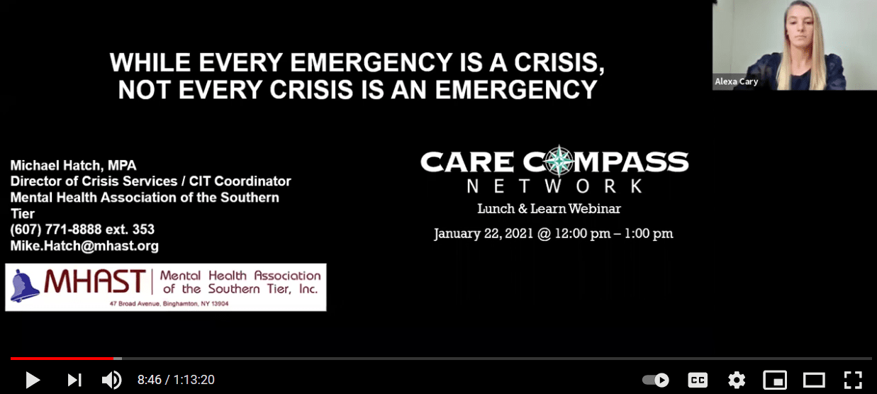 Care Compass presentes Michael Hatch, Director of Crisis Services for MHAST