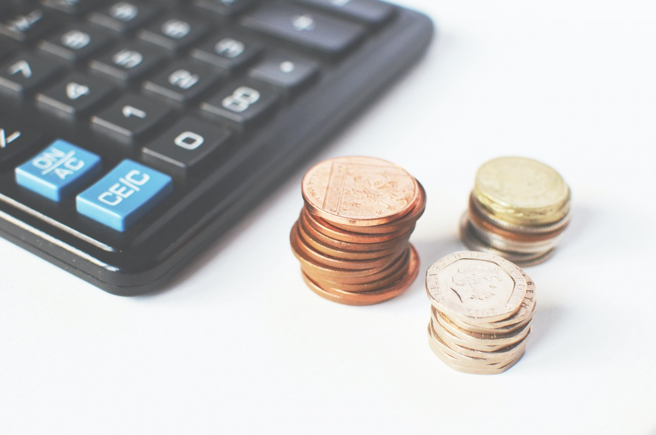 calculator and pennies